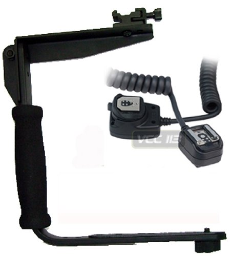 Rotating Flash Bracket Grip + I-TTL Off Camera Shoe Flash Cord FOR Nikon D3200 D5100 D200 D100 D700 D70S D80 D70 D50 D5000 D3000 D300S D90 D40 D40X D60 D3 D2H D3X D7000 D3100 D5100 D800, D800E DSLR + BP MicroFiber Cleaning Cloth ()