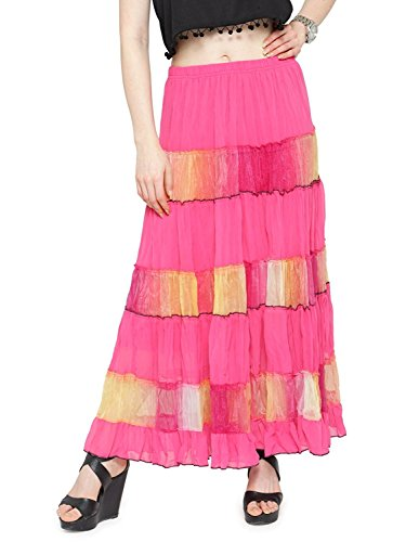 Indian Handicrfats Export Women Full/Ankle Length Blending Maxi Chiffon Long Skirt Beach Skirt