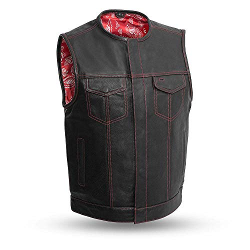 Men's Motorcycle Club Leather Vest Red Paisley Lining (Bandit) (2XL)