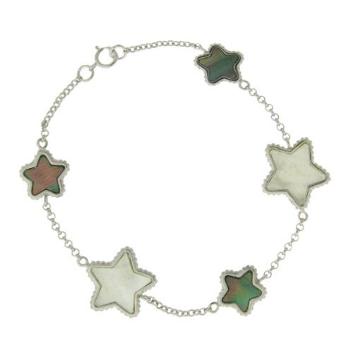 """Sterling Silver 7.25"""" Black and White Mother of Pearl Star Bracelet"""