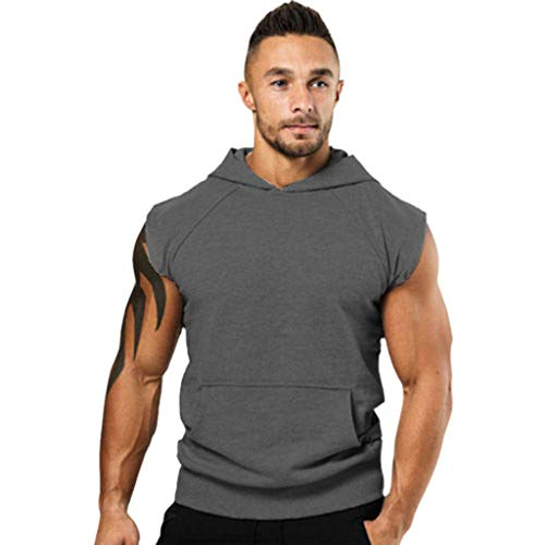 POQOQ Mens Workout Hooded Tank Tops Sleeveless Gym Hoodies with Kanga Pocket Cool and Muscle Cut Mens Muscle Tank Top Gym Work Out XXL Dark Gray ()