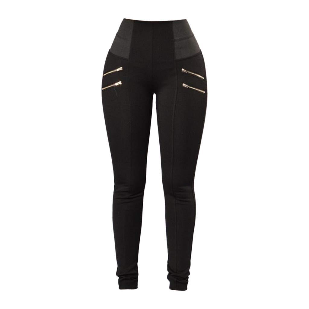 Workout Shorts for Women Plus Size Cotton, Yoga Pants for Women Large,Womens Leggings Elastic Trousers Thin Zipper Solid Mid-Calf Plus Size Pants by Makeupstory (Image #6)