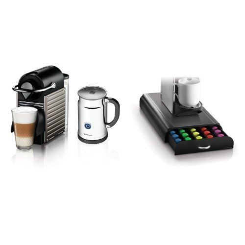 Nespresso Pixie Espresso Maker With Aeroccino Plus Milk Frother, Electric Titan and Mind Reader