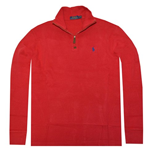 n French Rib Half-Zip Pullover (Large, Graphic red) ()