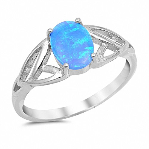 925 silver inlay Blue Topaz Rings Size: 8mm. - 4
