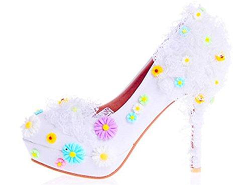 corte Fiesta Zapatos 37 Sandalias de Blanco Buena aguja de de MNII de de Zapatos Zapatos Flores tacón de tacón Boda Boda encaje Diseñador Zapatos alto alto Señoras calidad tacón Novia pFEFSwq