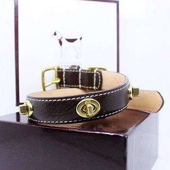 """COACH Gold Turnlock Grommets Leather Collar with Engraveable Charm 60095 Limited Edition - Chocolate Brown, Small (11""""-13"""")"""