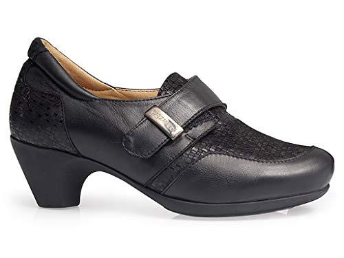 Zapato Pala Velcro Piel Ancho Negro Con Abotinado Marca Cierre Extraible Horma Y 45 Plantilla Color Mujer 13 Ortopedico Calzamedi Grabada 0675 88Z7w