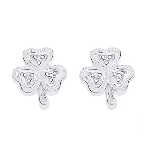 - Christmas Sale Round Cut White Natural Diamond Accent Lucky Clover Shamrock Stud Earrings In 10K Solid White Gold