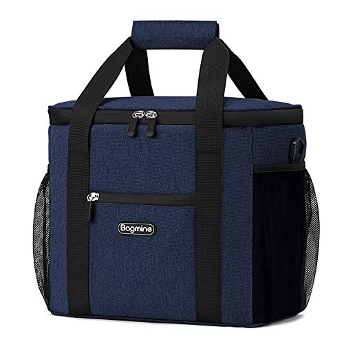 Bagmine 24 Can Cooler Bag Soft Sided Collapsible Insulated Lunch Bag Soft Cooler Tote for Pinic Camping, Leak Proof, 15 Liter, Navy Blue