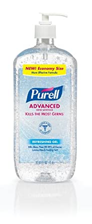 PURELL Advanced Hand Sanitizer Gel, Refreshing Fragrance, 1 Liter Economy Sized Sanitizer Table Top Pump Bottle - 3080-04-CMR