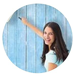 alfombrilla de ratón Imagen compuesta de pintura Morena joven feliz con el rodillo - ronda - 20cm