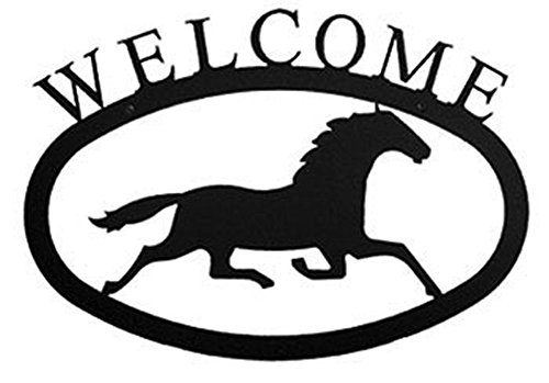 Iron Large Running Horse Home Address Welcome Sign Large - Black Metal (Horse Running Iron)