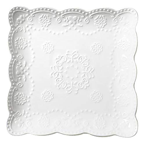 Jusalpha Square Embossed Lace Ceramic Plate-Tableware Set- 4 Pieces (6 Inches, White)