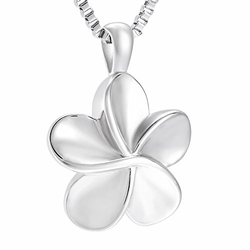 XSMZB Plumeria Flower Cremation Jewelry for Ashes Stainless Steel Keepsake Jewellery Memorial Urn Necklace Pendant Locket for Women