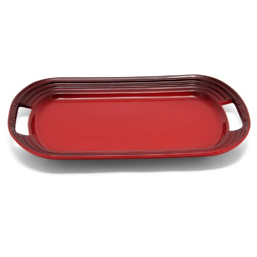 Le Creuset Stoneware 16'' Oval Serving Platter, Cerise (Cherry Red) by Le Creuset (Image #3)