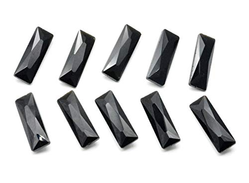 - Catotrem Baguette Rhinestone Pointback Crystal Stone Silver Plated Tiny T Shape Glass Crystals(7x21mm) Black