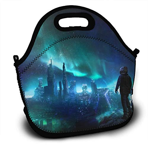 Dejup Lunch Bag Aurora Motocycle Man Tote Reusable Insulated Lunchbox, Shoulder Strap with Zipper for Kids, Boys, Girls, Women and Men -