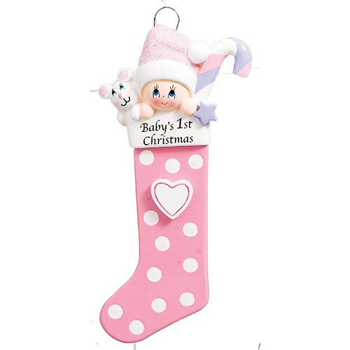 Personalized Baby's 1st Christmas Long Stocking Tree Ornament 2019 - Girl Glitter Hat Candy Cane Mouse Polka Dot Heart New Mom Shower Gift Grand-Daughter - Free Customization (Pink)