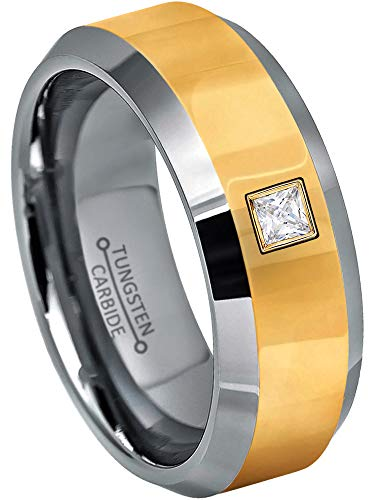 0.10ctw Solitaire Princess Cut Diamond Tungsten Ring - 8MM Polished 2-Tone Beveled Edge Tungsten Carbide Wedding Band - April Birthstone Ring - s14 ()