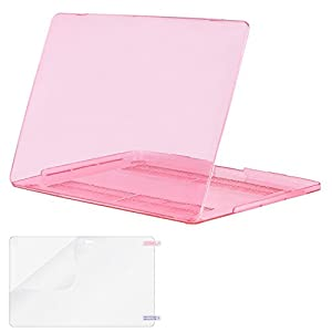 Mosiso MacBook Pro 13 Case 2017 & 2016 Release A1706 A1708, Plastic Hard Case Shell Cover with Screen Protector for Newest Macbook Pro 13 Inch with/without Touch Bar and Touch ID, Crystal Pink