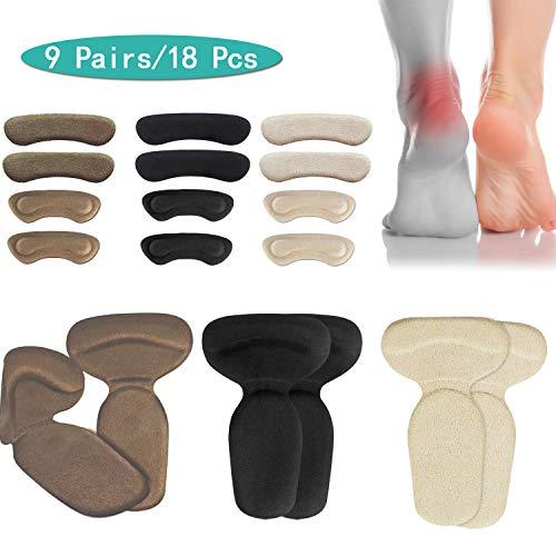 (18pcs) Heel Cushions-Heel Grips/High Heel Pads Inserts,*Reusable* Heel Liner Protector Best for Loose Shoe,Heel Anti-Slips,Blister,Heel Rubbing & Heel Pain Relief Bunion Callus - for Men & Women.