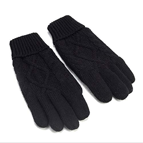ZIIN Knitted Gloves Men's Autumn and Winter Plus Velvet Thickening Cycling Warm Diamond Pattern Solid Color Yarn Code (Color : Black)