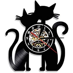 DFRFR Gatos Pareja Vinilo Disco Reloj de Pared Gatos Hechos a Mano Adorno Gatos Silueta Arte de la Pared Reloj Decorativo Moderno Regalo para Amantes de los Gatos