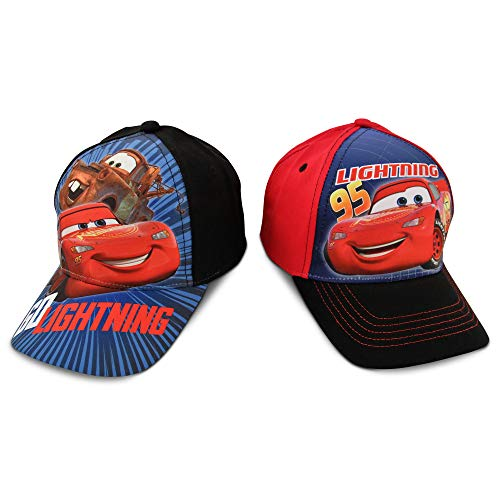 Disney Little Boys Assorted Character Cotton Baseball Cap, 2 Piece Design Set, Age 2-7 (Little Boys - Age 4-7 - 53 cm, Cars Design - 2 Piece Set)