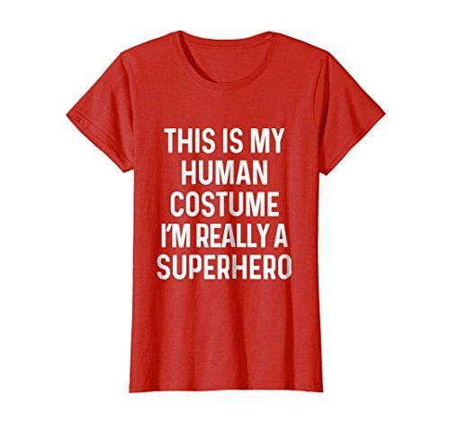 Womens Funny Superhero Costume Shirt Halloween Kids Adult Men Women Medium Red