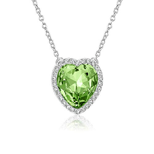 Beyond Love Women Pendants Peridot August Birthstone Necklace Heart Birthday Anniversary Jewelry Gifts for Girls