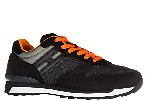 Hogan Rebel Mens Shoes Sneakers In Pelle Da Ginnastica R261 Allacciato Nero