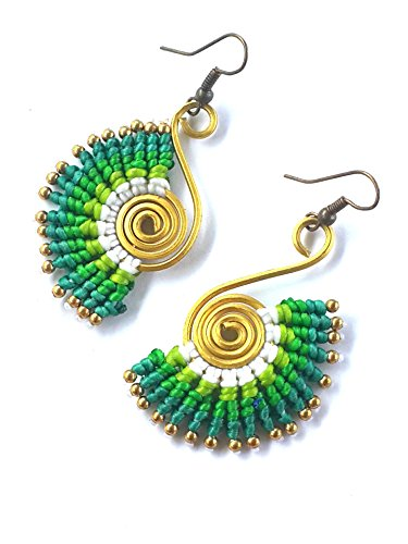 NAVA CHIANGMAI Drop Earrings woven with Brass Bead and wax cord beautiful handmade hippie bohemian style (Green)