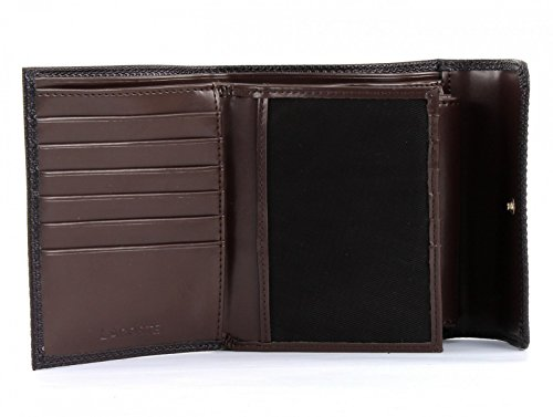 LACOSTE Institutionnelle Large Billfold With Flap After Dark Coffe Bean