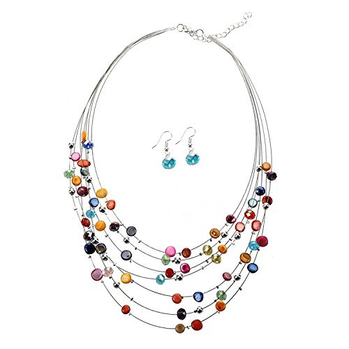 TOOGOO(R) Gorgeous Beaded Multi Strand Necklace and Drop/Dangle Earring Set-Multicolor