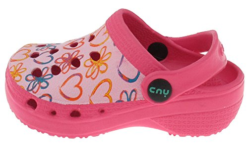 Capelli New York Toddler Girls Painted Hearts & Daisies Printed Injected Eva Clog With Backstrap Pink Combo 6/7