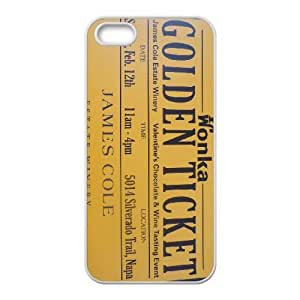 Special Design Case iPhone 5, 5S White Cell Phone Case Ijxgv Willy Wonka Golden Ticket Chocolate Bar Durable Rubber Cover