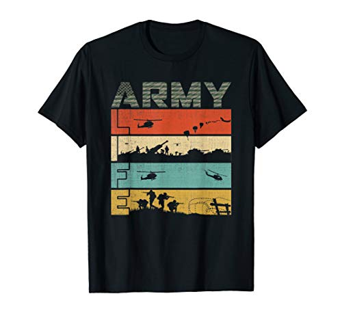 Life in the Army, Vintage Flag Camo Army Soldiers Proud Army T-Shirt ()