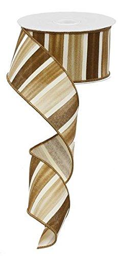Watercolor Wide Stripe Wired Edge Ribbon - 10 yards (Multi Brown, White, (Khaki Ribbon)