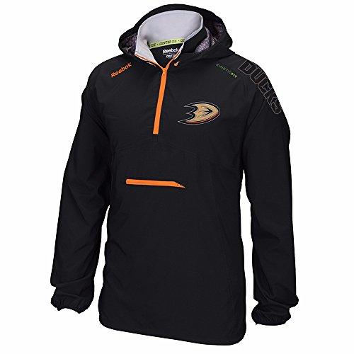 Reebok Anaheim Ducks NHL Black Center Ice Anorak Kinetic Fit Performance 1/4 Zip Hoodie For Men (L)