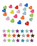 300 Complete Sets Snap Kits Plastic Resin Snap Fastener Buttons KAM T5 Size 20 (1/2'') Heart Shape&Stars Shape Assorted Rainbow Colors