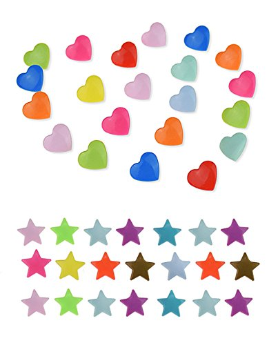 300 Complete Sets Snap Kits Plastic Resin Snap Fastener Buttons KAM T5 Size 20 (1/2) Heart Shape&Stars Shape Assorted Rainbow Colors