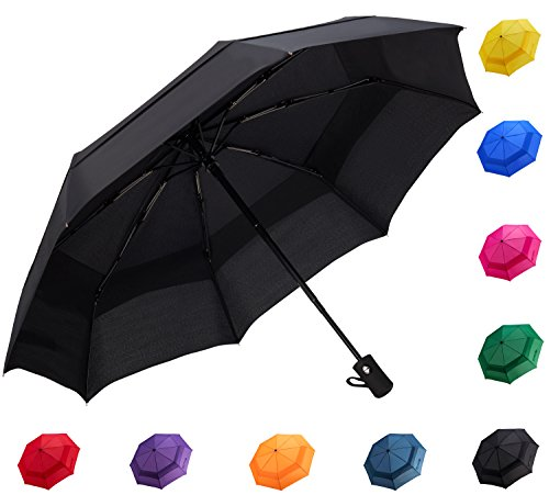 Fidus Compact Windproof Vented Automatic Travel Umbrella With Double Canopy - Large Lightweight Folding Car Golf Umbrella for Women Men Kids-black