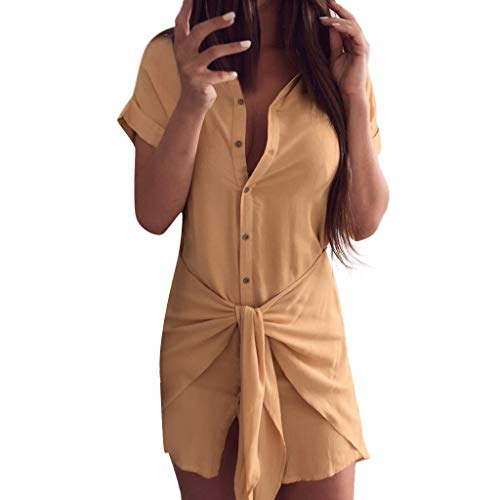 URIBAKE 2019 Womens Shirt Dress Short Sleeve Solid Open Front Button Casual Tie Knot Pencil Dress Yellow