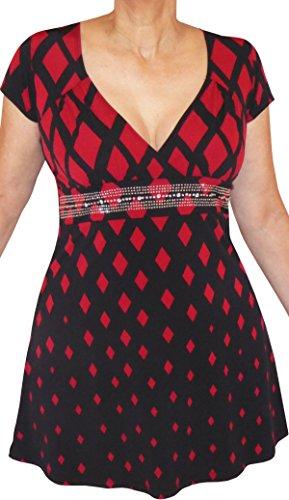 Funfash Plus Size Women Rhinestones Empire Waist Top Blouse Shirt Made in USA ()
