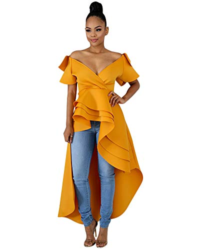OLUOLIN Women Sexy Off Shoulder Dress - Elegant Short Sleeve Party High Low Maxi Dress M