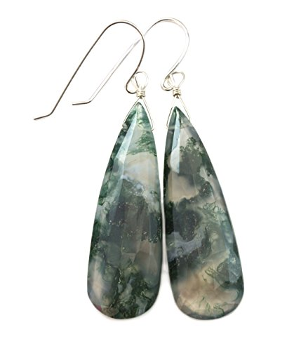 Sterling Silver Moss Agate Earrings Green Large Faceted Long Briolette Teardrops