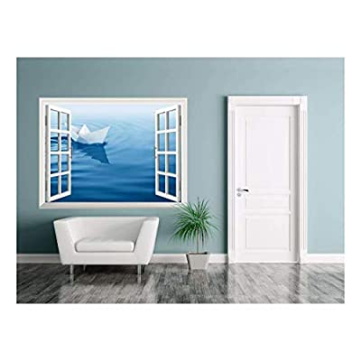 With a Professional Touch, Alluring Visual, Removable Wall Sticker Wall Mural Paper Boat Sailing on Blue Water Surface Creative Window View Wall Decor