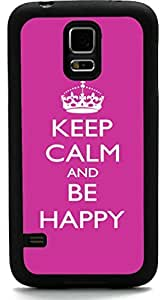 Rikki KnightTM Keep Calm Be Happy - Pink Rose Color Design Samsung? Galaxy S5 Case Cover (Black Rubber with front Bumper Protection) for Samsung Galaxy S5 i9600