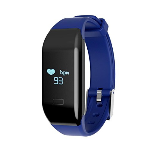 Smart Bracelet Heart Rate Monitor Waterproof Bluetooth Sport Pedometer Bracelet Supports Multiple Languages , blue by GJX
